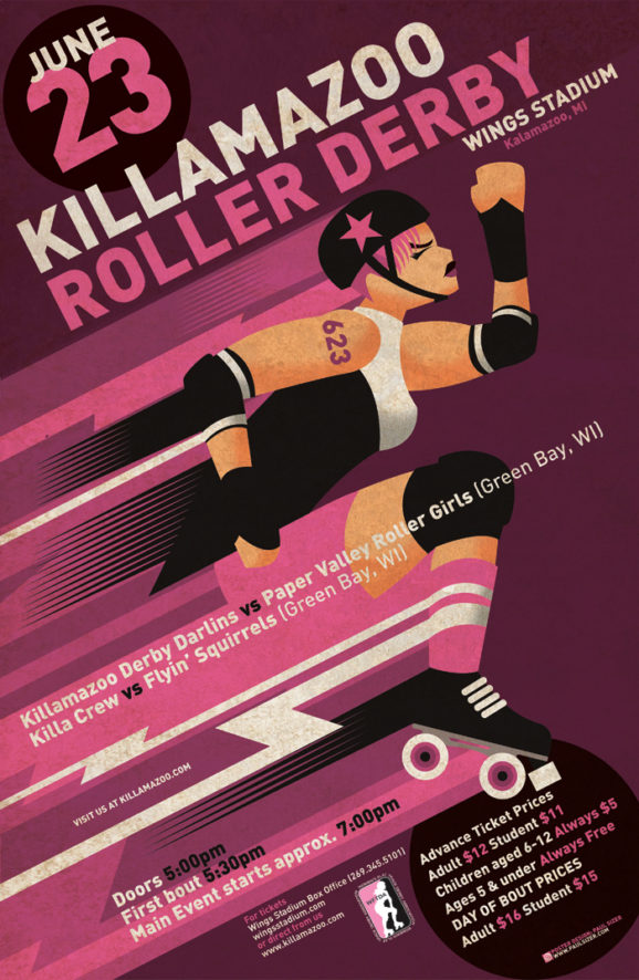 Killamazoo Roller Derby Bout Poster (June 2012)